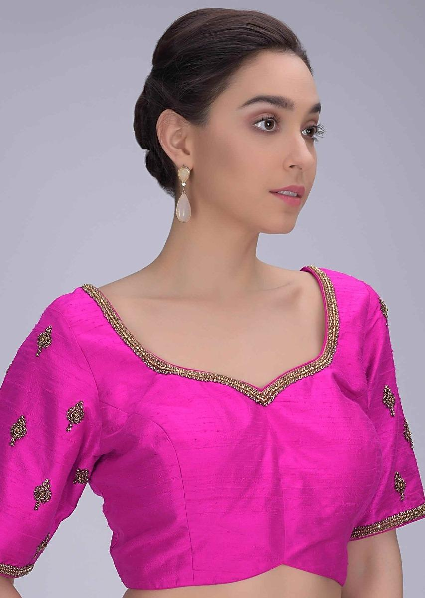 Hot Pink Blouse In Embroidered Raw Silk Online - Kalki Fashion