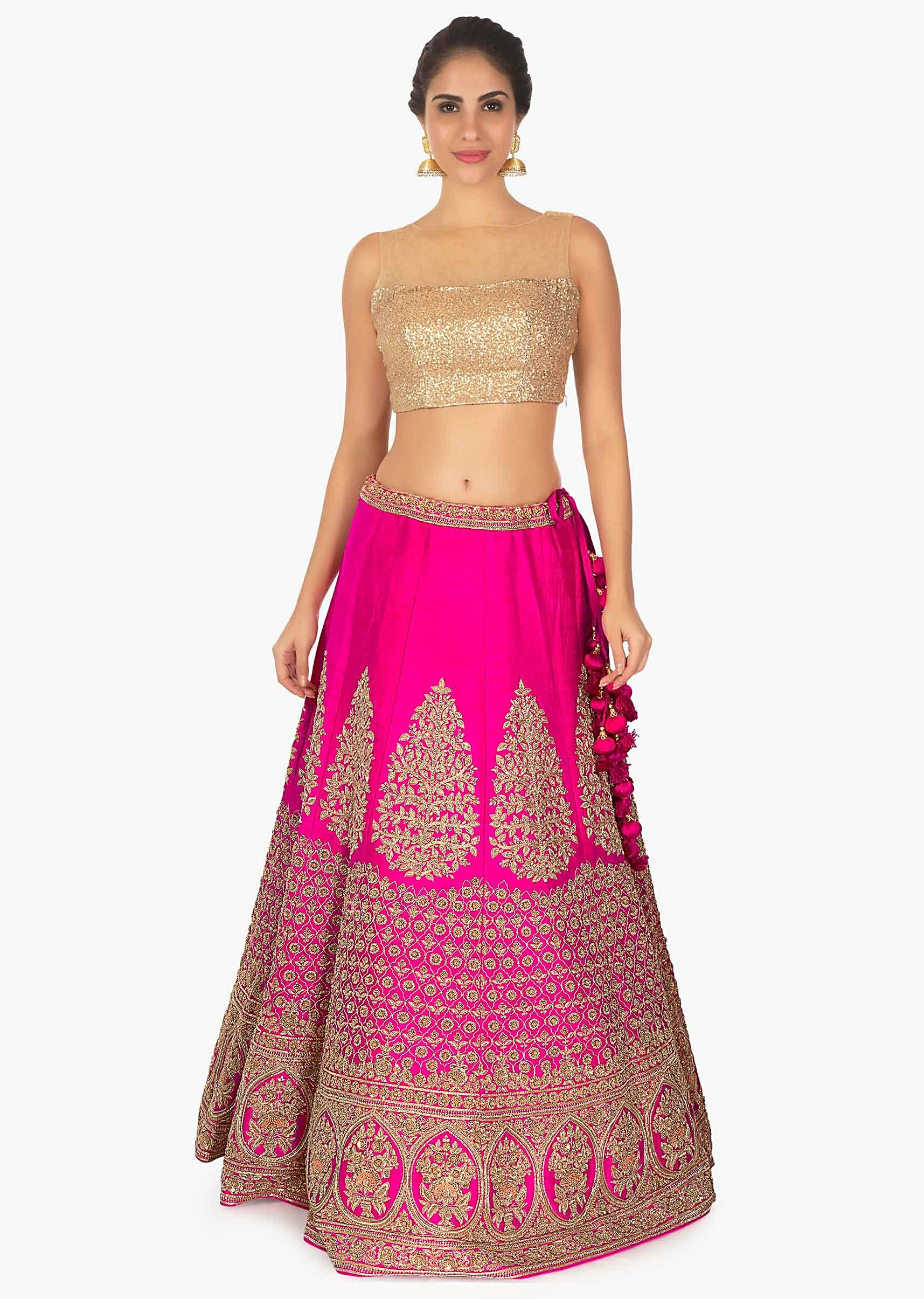 633f704693 Hot pink raw silk lehenga with net dupatta andonly on Kalki