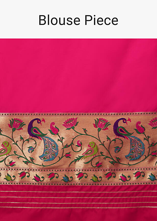 Hot Pink Saree In Pure Handloom Silk With Colorful Woven Peacock Motifs On The Border And Peacock Butti Design Along With Unstitched Blouse Online - Kalki Fashion