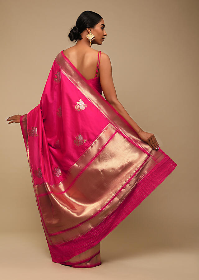 Hot Pink Saree In Pure Handloom Silk With Golden And Silver Woven Floral Buttis And Unstitched Blouse Online - Kalki Fashion
