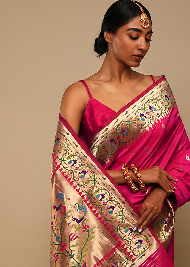 Hot Pink Saree In Pure Handloom Silk With Woven Geometric Buttis, Peacock Motifs On The Border And Unstitched Blouse Online - Kalki Fashion