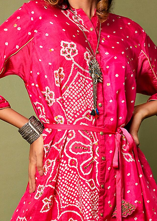 Hot Pink Shirt And Palazzo Set With Mandala Bandhani Print And Hand Embroidered Using Antique Sequins And Beads Online - Kalki Fashion