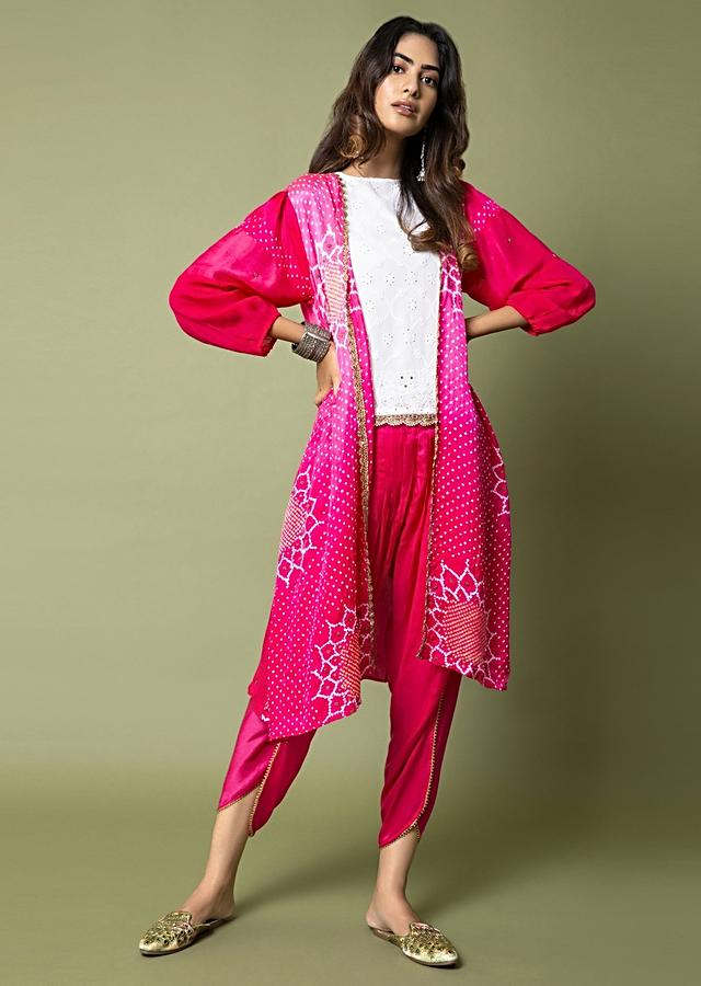 Hot Pink Tulip Pants And Bandhani Jacket Paired With Lucknowi Embroidered Top Online - Kalki Fashion