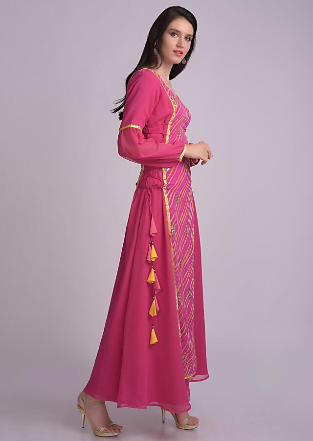 Hot Pink Tunic In Chiffon With Lehariya Printed Layer With Side Tie Up Online - Kalki Fashion