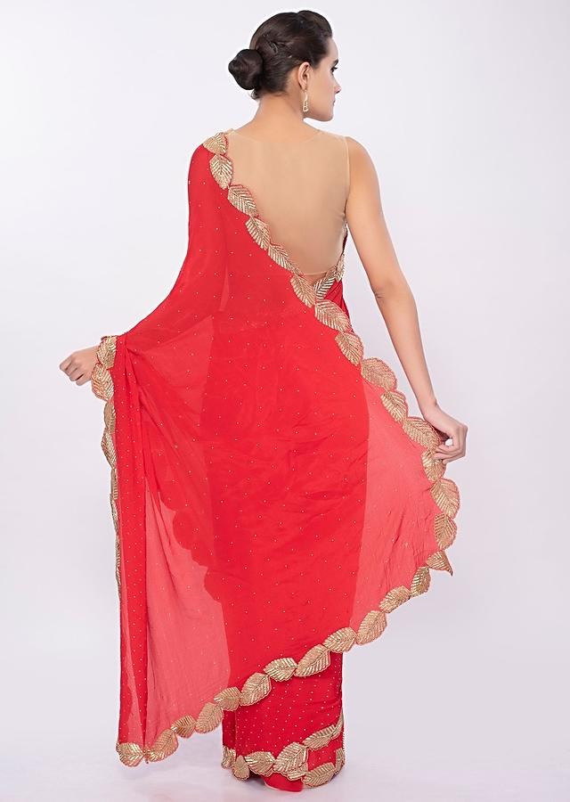 Hot Red Chiffon Saree In Cut Dana Embroidered Scallop Border Online - Kalki Fashion