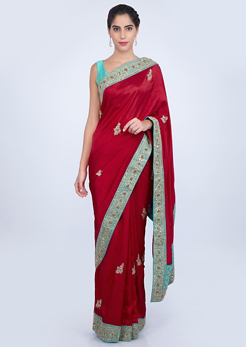 f41cc1cecba4da Hot red raw silk saree with cord embroidered butti and border only on  kalkiMore Detail