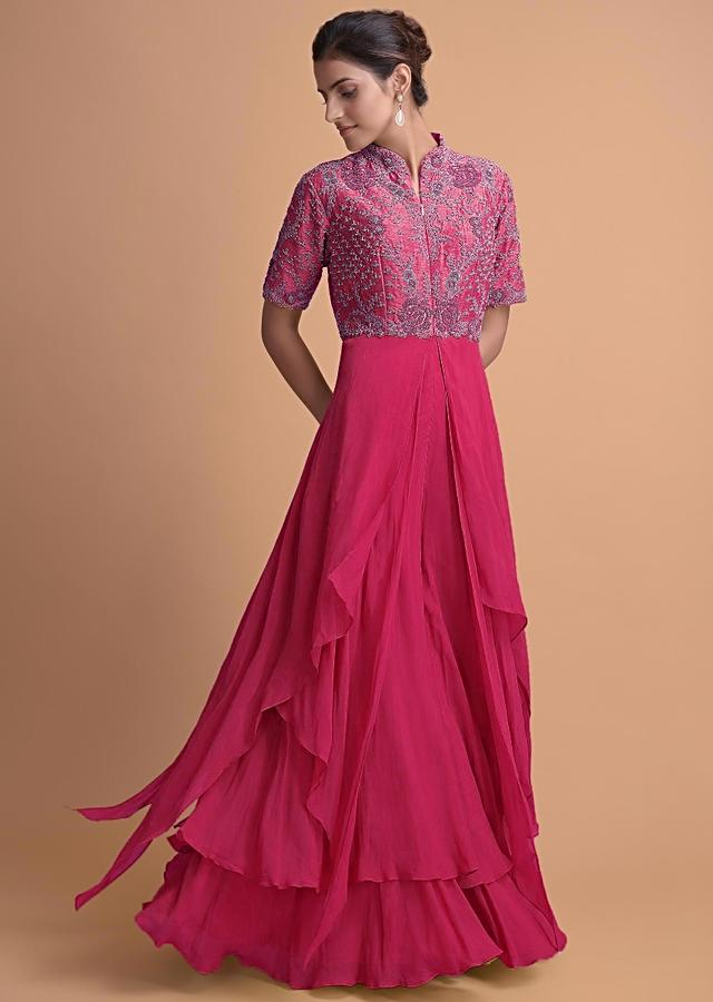 Hot Pink Jumpsuit With Georgette Layers On The Bottom And A Raw Silk Bodice Online - Kalki Fashion