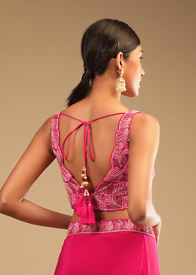 Hot Pink Ready Pleated Saree In Crepe With Ruffle Frill On The Pallu And Beads Embroidered Crop Top And Belt Online - Kalki Fashion