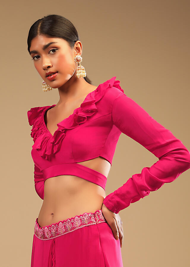 Hot Pink Saree With Ruffle Pallu, Stone Embellished Belt And A Ruffle Blouse With Side Cut Outs Online - Kalki Fashion