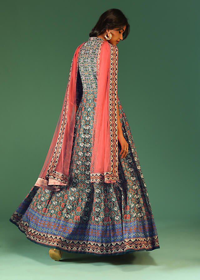 Hunter Green Anarkali Suit In Raw Silk With Patola Print And Kundan Detailing Along With A Pink Net Dupatta Online - Kalki Fashion