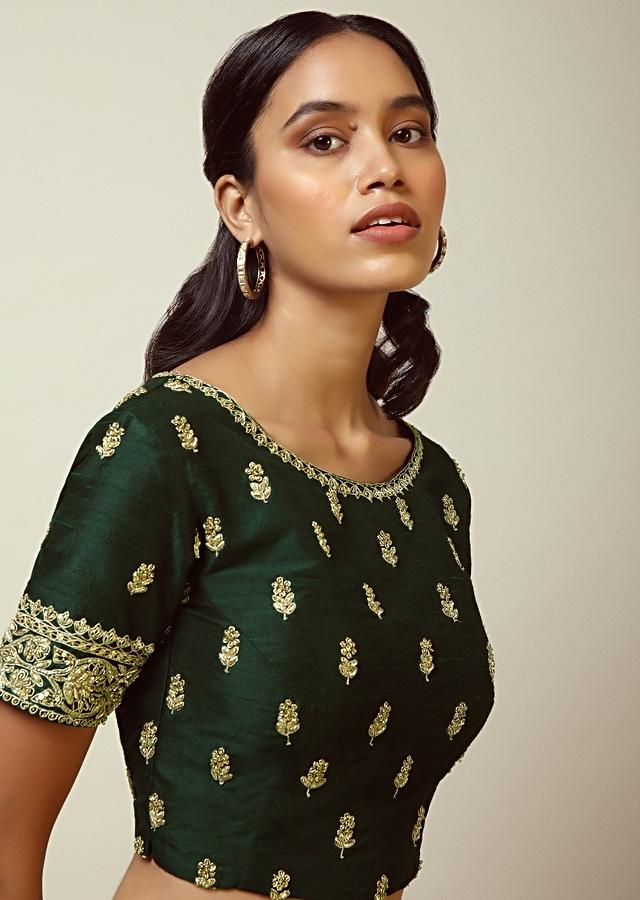 Hunter Green Blouse In Raw Silk With Zardosi Embroidered Floral Buttis And Heavy Cuff Design Online - Kalki Fashion