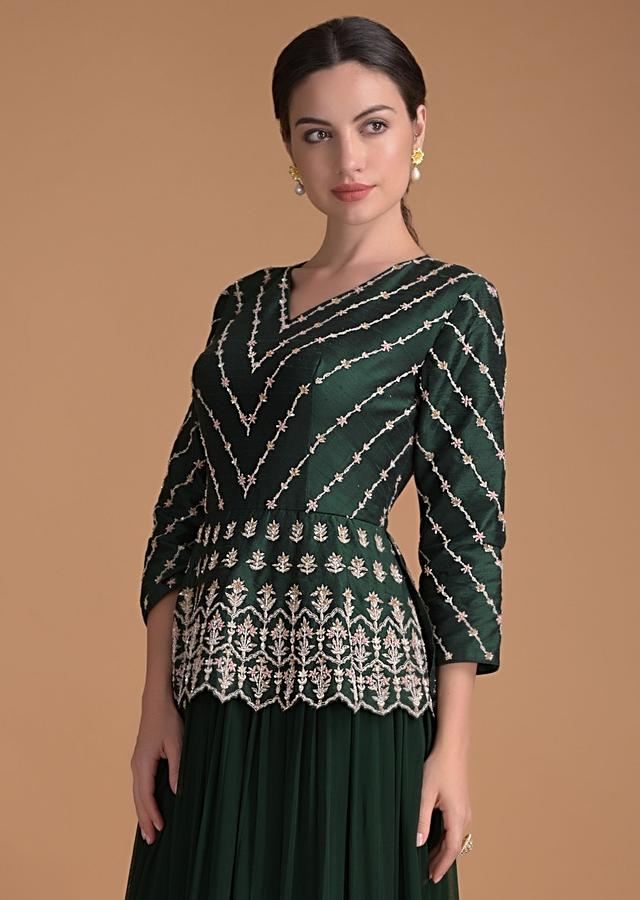 Hunter Green Indowestern Gown With Embroidered Peplum Bodice And Layered Hem Online - Kalki Fashion
