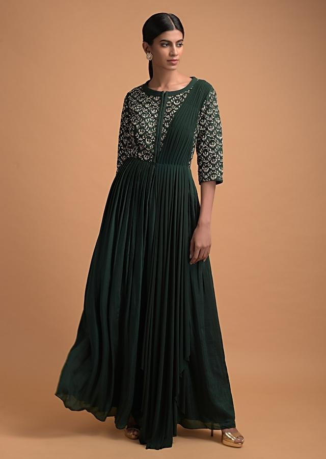 Hunter Green Long Dress With Embellished Bodice And Attached Pleated Net Drape From The Shoulder Online - Kalki Fashion