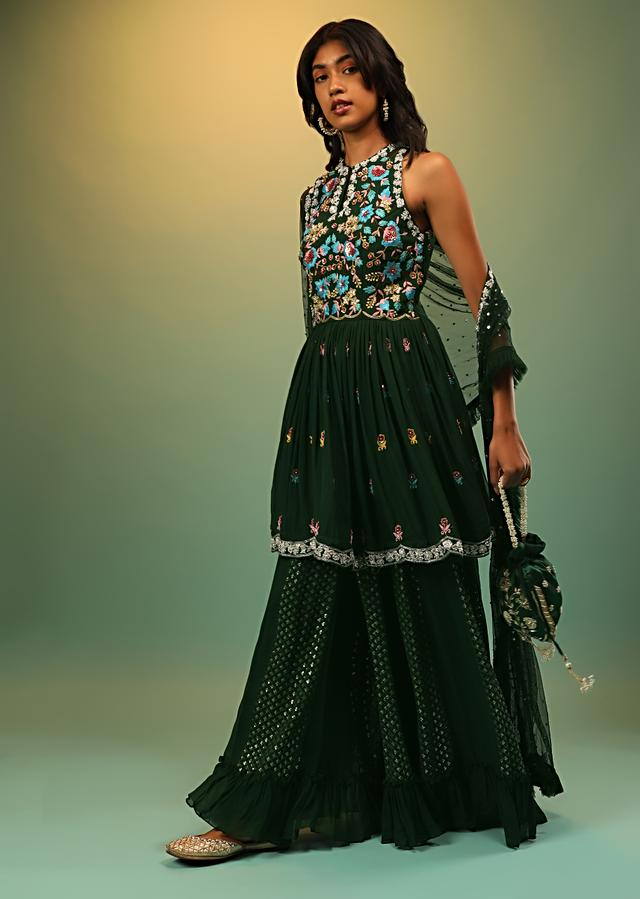 Hunter Green Palazzo And Peplum Suit With Multi Colored Resham Embroidered Floral Design Online - Kalki Fashion