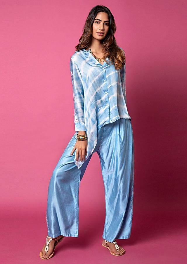 Ice Blue Asymmetric Shirt And Pants With Resist Hand Dyed Lehariya And Shell Buttons Online - Kalki Fashion