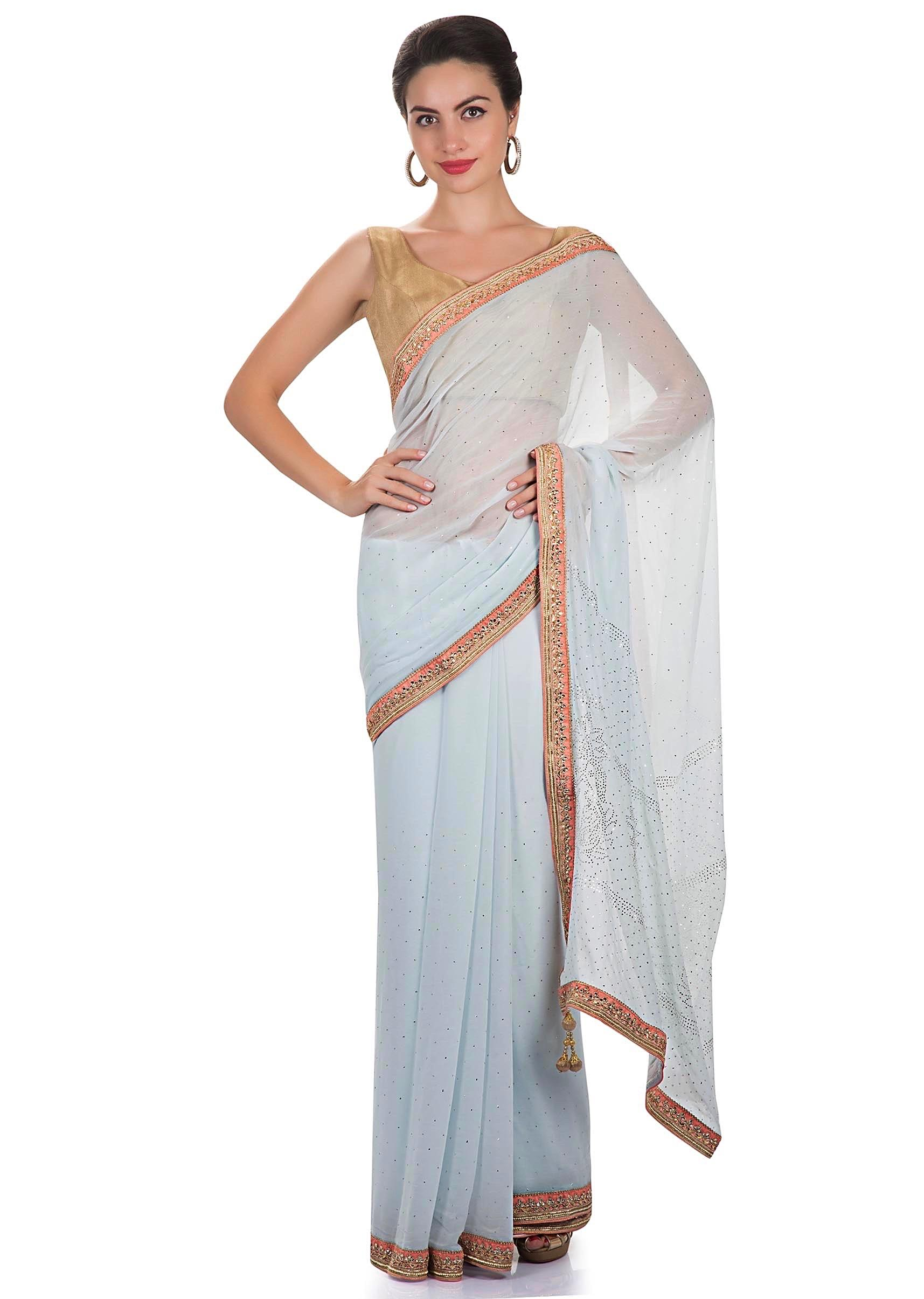ce13ea4ffffc3 Ice blue georgette saree adorned with abla work and kundan border only on KalkiMore  Detail