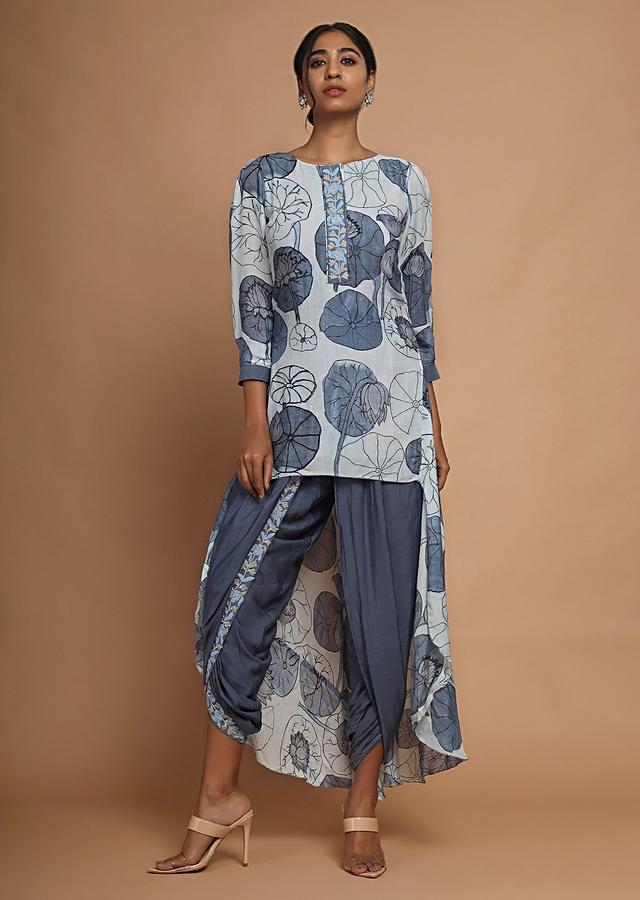 Ice Blue High Low Kurti With Stylised Floral Print And Steel Blue Dhoti Pants Online - Kalki Fashion