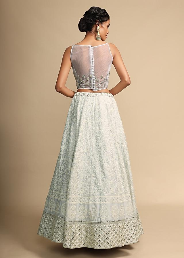 Ice Blue Lehenga Choli In Crepe With Lucknowi Thread Embroidery And Gotta Patti Accents Online - Kalki Fashion