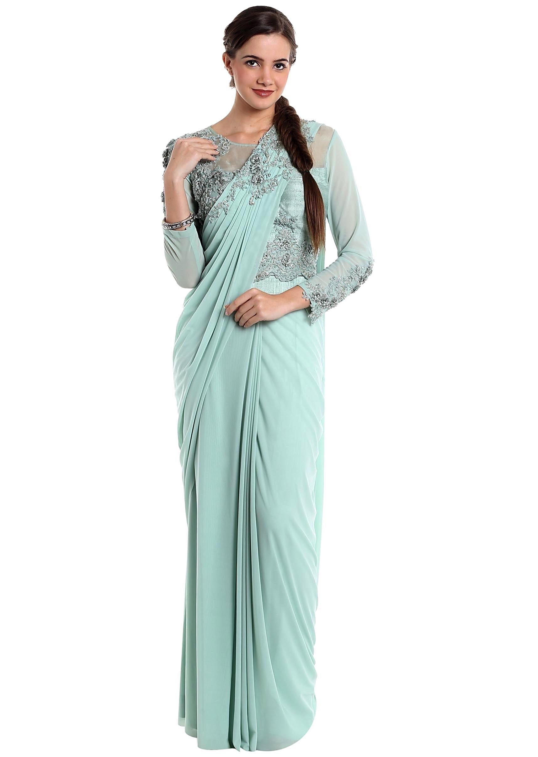 4bad2acd118 Ice blue lycra net pre-stitched saree with fancy blouse only on Kalki