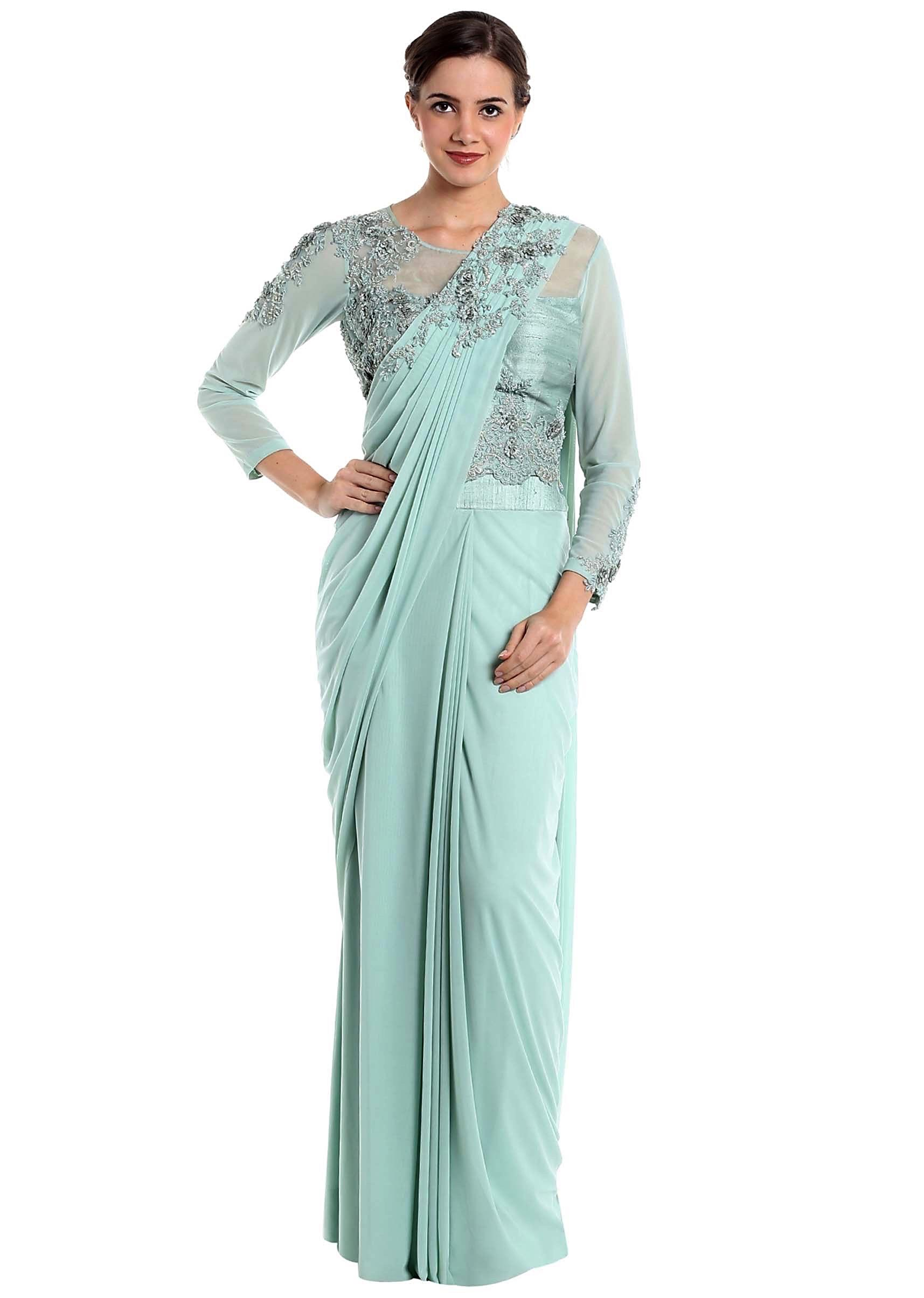 48213468019 Ice blue lycra net pre-stitched saree with fancy blouse only on KalkiMore  Detail