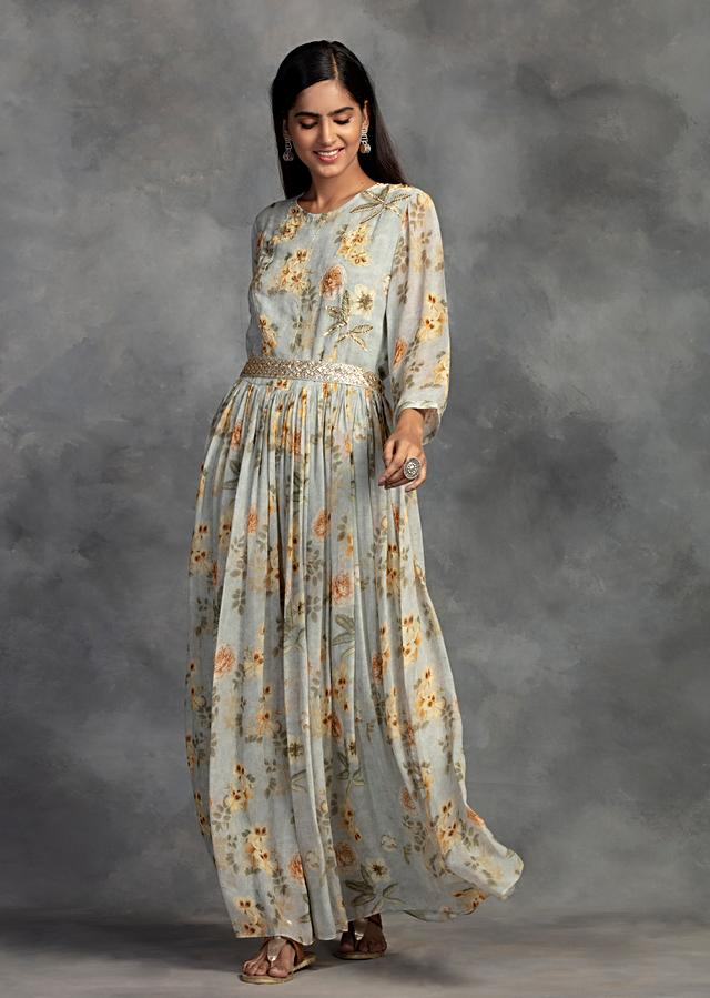 Ice Blue Tunic In Georgette With Floral Print And Embroidered Belt Online - Kalki Fashion