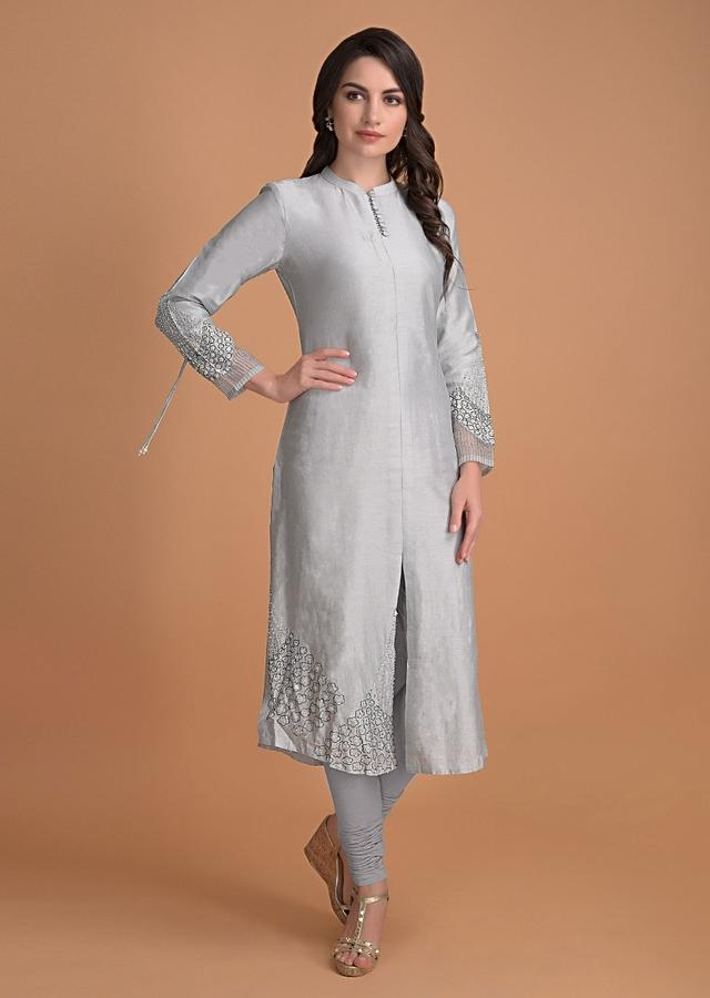 Ice Green Kurti And Fogged Landscape Green Dupatta With Sequins Embroidery Online - Kalki Fashion