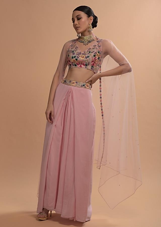Ice Pink Pleated Skirt With Pleat Details, Floral Embroidered Crop Top And Net Cape Online - Kalki Fashion