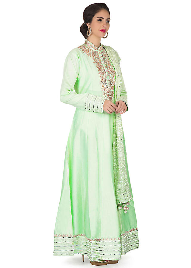 Ice Green anarkali suit with gotta patch embroidered placket only on Kalki