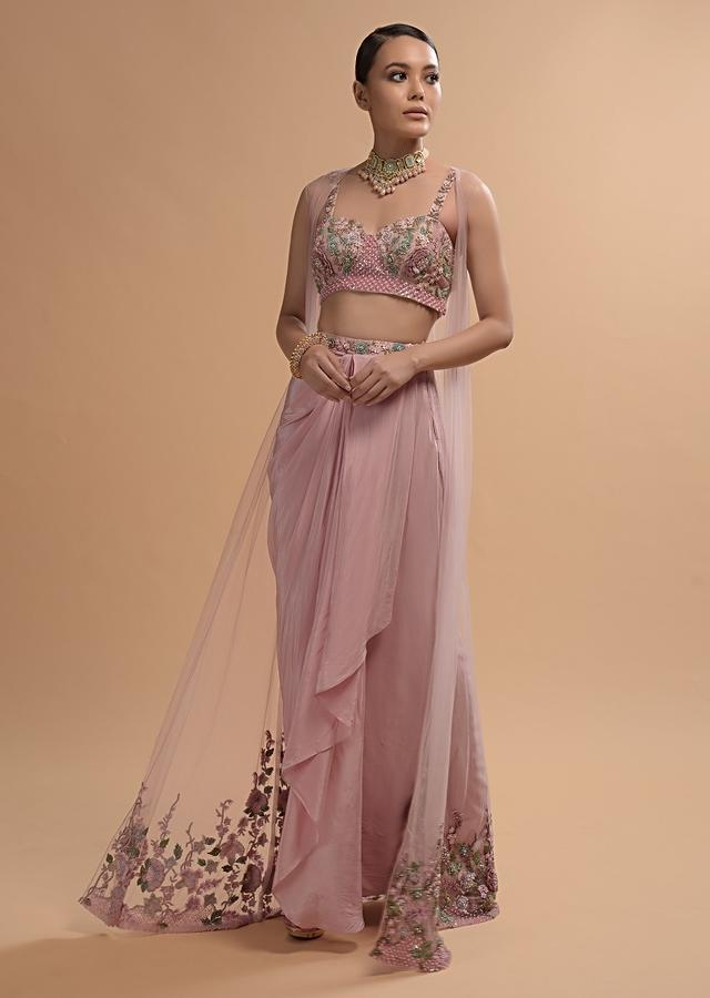 Icy Pink Draped Skirt And Crop Top Set With Long Jacket And 3D Flower Embroidery Online - Kalki Fashion