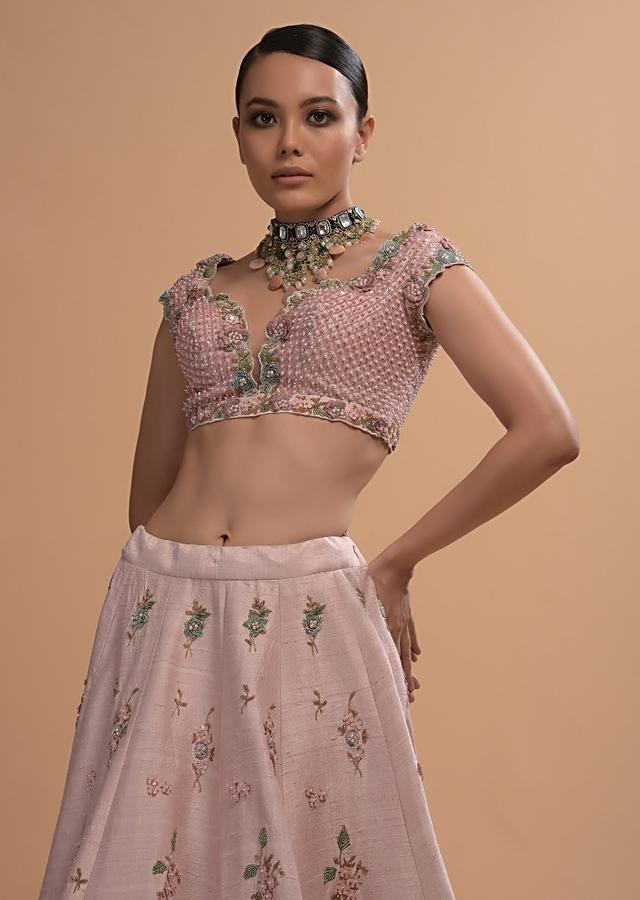 Icy Pink Lehenga Choli In Raw Silk With 3D Flowers And Beads Embroidery Online - Kalki Fashion
