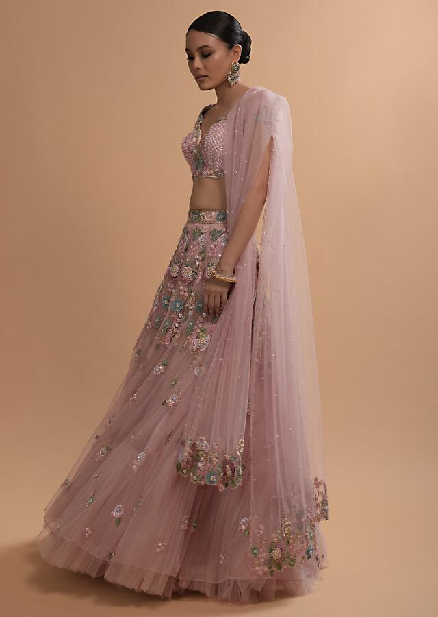 Icy Pink Net Lehenga And Cap Sleeves Crop Top With 3D Flower Cluster And Scattered Buttis Online - Kalki Fashion