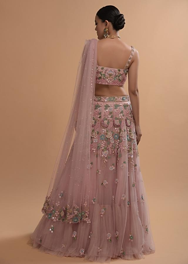 Icy Pink Net Lehenga And Sleeveless Crop Top With 3D Flower Cluster And Scattered Buttis Online - Kalki Fashion