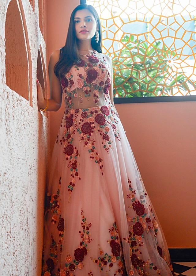 Megha Bajaj In Kalki Pink Net Gown In Resham Embroidery