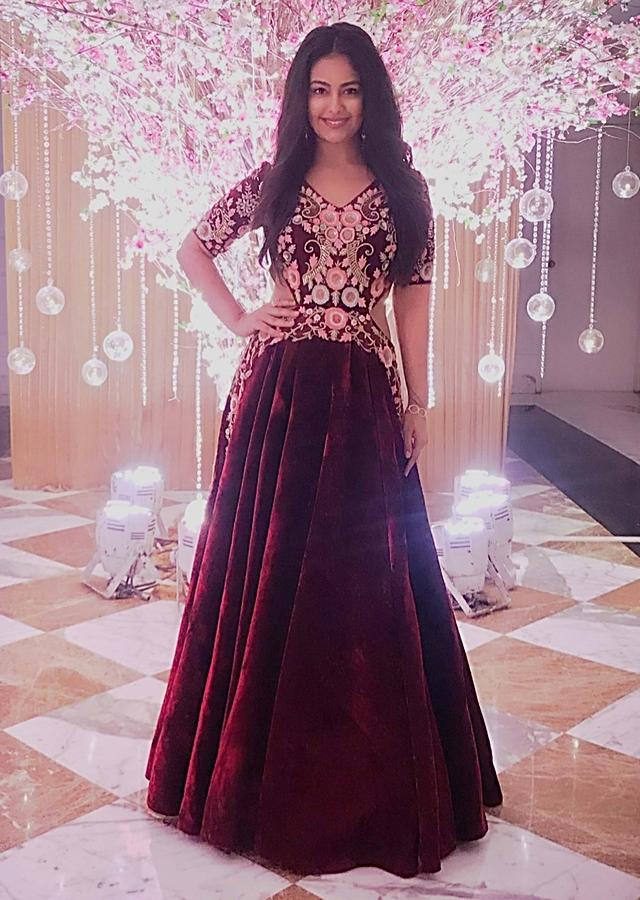 Avika Gor in Kalki maroon long reception gown with embellished bodice  and waistline