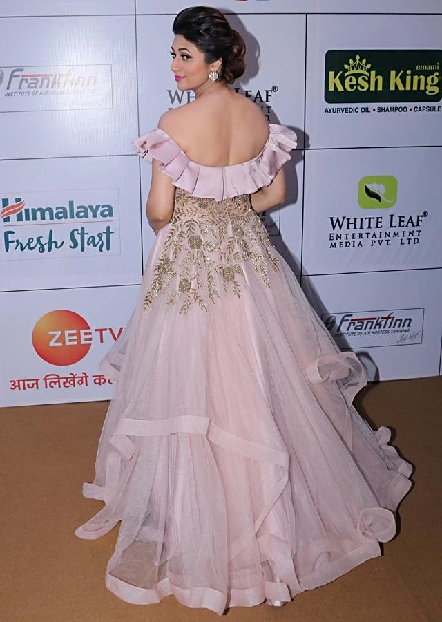 Rose Pink Off Shoulder Net Gown Featuring Handwork and Ruffles Only on Kalki