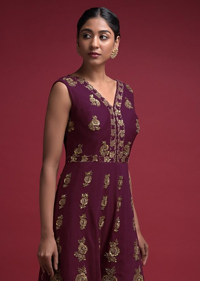 Imperial Purple Jumpsuit In Cotton Silk With Embroidered Buttis And Moroccan Pattern Online - Kalki Fashion