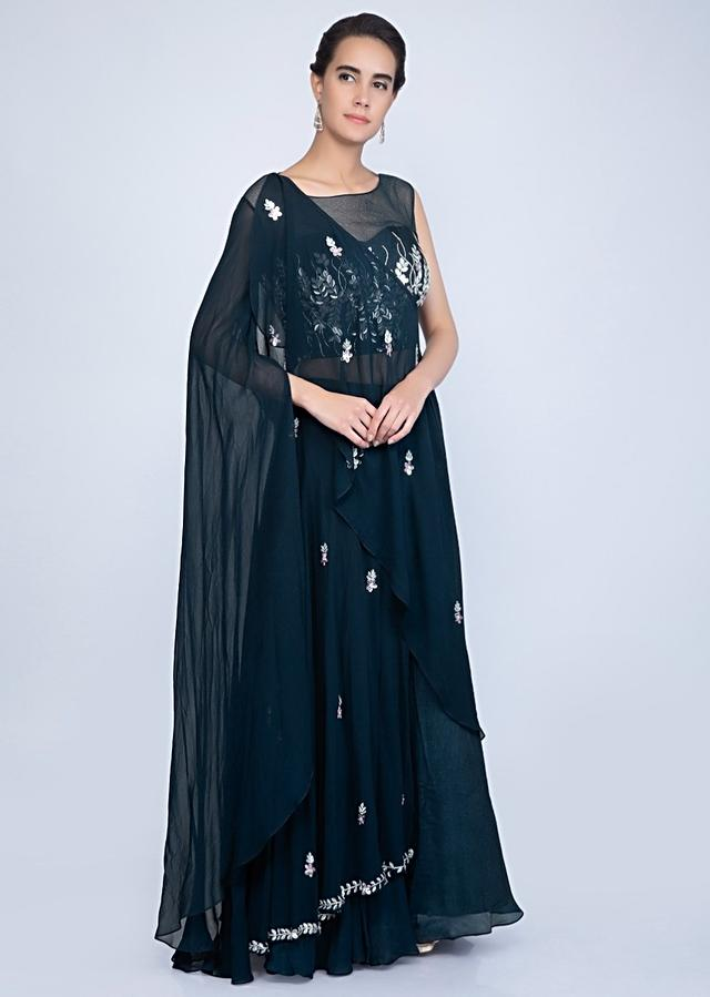 Indigo Blue Lehenga In Crepe With One Side Flared Sleeves And A Wrap Around Embroidered Cape Online - Kalki Fashion