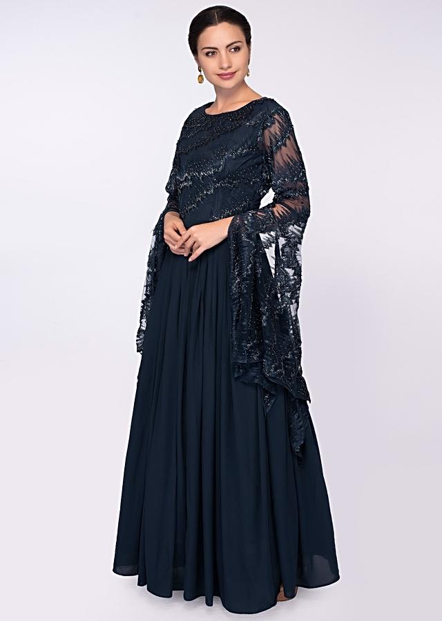 Indigo Blue Gown In Georgette With Net Embroidered Bodice And Fancy Flared Sleeves Online - Kalki Fashion