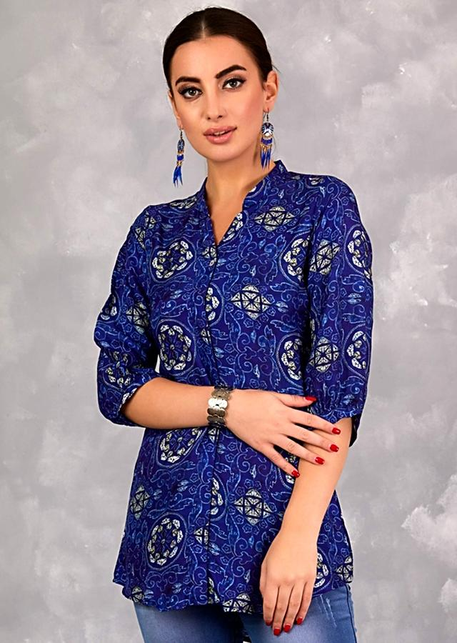 Indigo Blue Short Kurti In Crepe With Ethnic Print All Over Online - Kalki Fashion