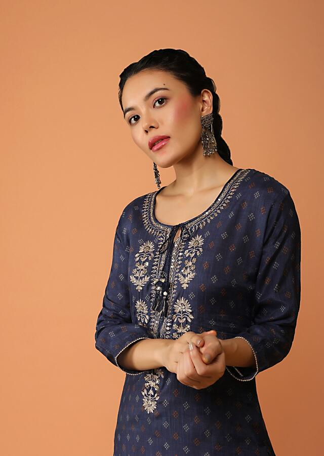 Indigo Blue Straight Cut Kurti With Printed Buttis And Floral Embroidered Placket With Sequins And Zari Work Online - Kalki Fashion