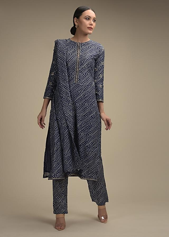Indigo Blue Straight Cut Suit In Cotton With Bandhani Print And Sequin Accents Online - Kalki Fashion