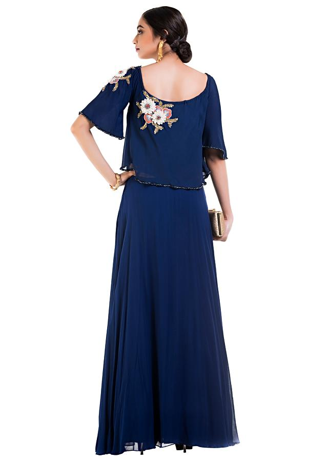 Indigo Blue Cape Dress With Wide Neck Line Online - Kalki Fashion