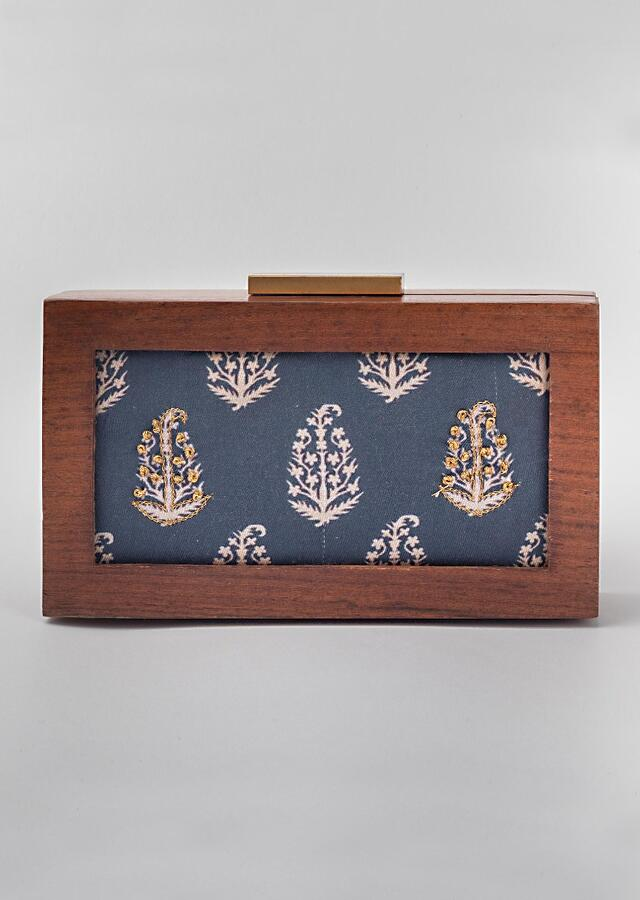 Indigo Box Clutch Floral Print And Antique Wooden Frame By Vareli Bafna