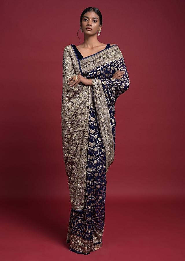 Indigo Saree In Georgette With Weaved Floral Jaal And Embroidery Work Online - Kalki Fashion