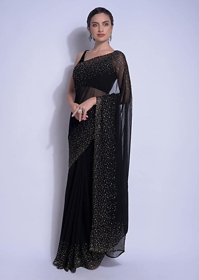 Ink Black Saree In Georgette With Kundan Work On The Border And Pallu Online - Kalki Fashion