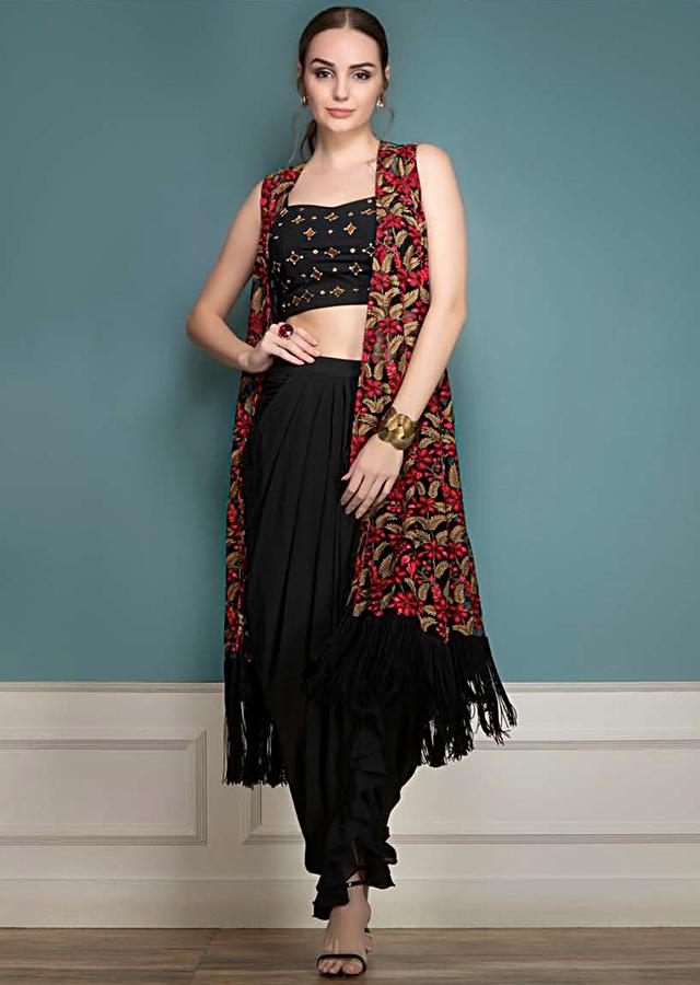 Ink Black Ruffle Skirt With Cowl Drape And Kashmiri Thread Embroidered Jacket Online - Kalki Fashion