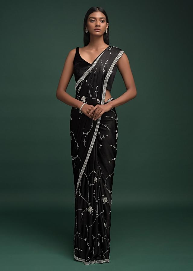 Ink Black Saree In Chinon With Stones, Pearls And Cut Dana Embellished Vintage Vine Pattern Online - Kalki Fashion