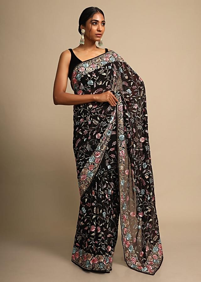 Ink Black Saree In Georgette With Colorful Resham Embroidered Floral Jaal Online - Kalki Fashion