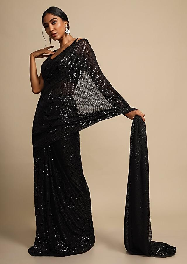 Ink Black Saree In Shimmer Sequins Fabric With Ready Stitched Peats Online - Kalki Fashion