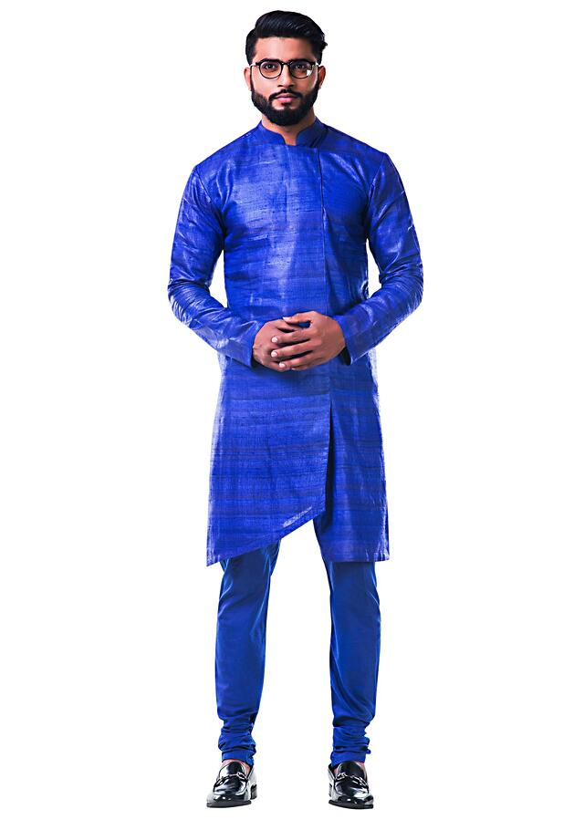 Ink Blue Overlapped Ghicha Kurta And Jacket Set Online - Kalki Fashion